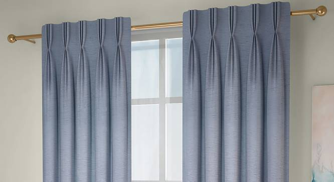 "Tonino Window Curtains - Set Of 2 (Blue, 71 x 152 cm (28""x60"") Curtain Size, American Pleat) by Urban Ladder - Front View Design 1 - 330978"