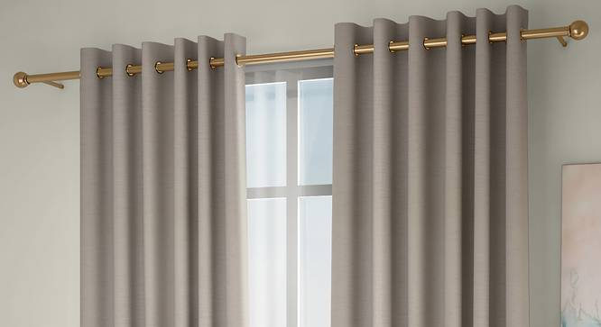 "Tonino Window Curtains - Set Of 2 (Beige, 132 x 152 cm  (52"" x 60"") Curtain Size, Eyelet Pleat) by Urban Ladder - Front View Design 1 - 330981"