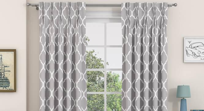 "Taj Window Curtains - Set Of 2 (Grey, 71 x 152 cm (28""x60"") Curtain Size, American Pleat) by Urban Ladder - Front View Design 1 - 330988"