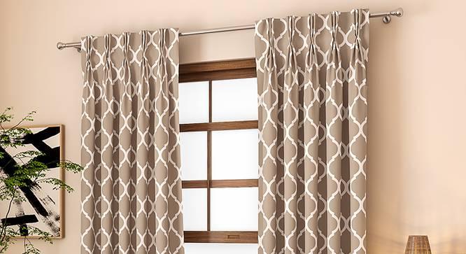 "Taj Window Curtains - Set Of 2 (Beige, 71 x 152 cm (28""x60"") Curtain Size, American Pleat) by Urban Ladder - Front View Design 1 - 330994"