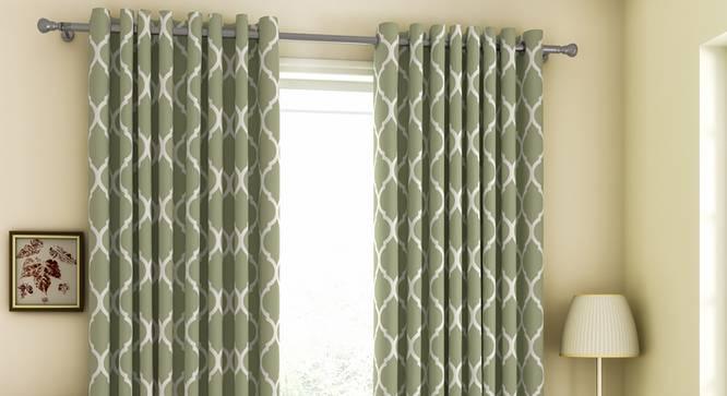 "Taj Window Curtains - Set Of 2 (Green, 132 x 152 cm  (52"" x 60"") Curtain Size, Eyelet Pleat) by Urban Ladder - Front View Design 1 - 330997"