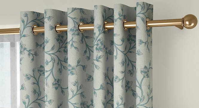 "Pazaz Door Curtains - Set Of 2 (Turquoise, 132 x 274 cm  (52""x108"") Curtain Size, Eyelet Pleat) by Urban Ladder - Front View Design 1 - 331013"
