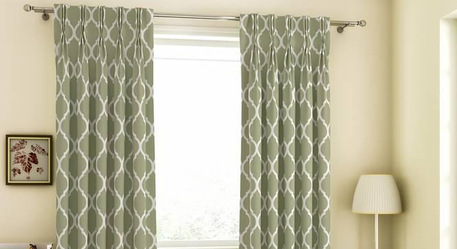 "Taj Door Curtains - Set Of 2 (71 x 274 cm (28""x108"")  Curtain Size, Light Green, American Pleat) by Urban Ladder - Design 1 Full View - 331030"