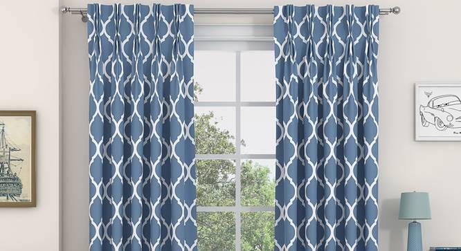 "Taj Door Curtains - Set Of 2 (Blue, 71 x 274 cm (28""x108"")  Curtain Size, American Pleat) by Urban Ladder - Design 1 Full View - 331041"