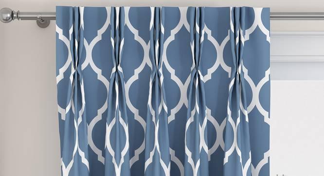 "Taj Door Curtains - Set Of 2 (Blue, 71 x 274 cm (28""x108"")  Curtain Size, American Pleat) by Urban Ladder - Front View Design 1 - 331042"