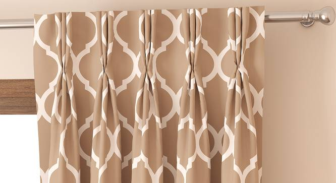 "Taj Door Curtains - Set Of 2 (Beige, 71 x 274 cm (28""x108"")  Curtain Size, American Pleat) by Urban Ladder - Front View Design 1 - 331048"