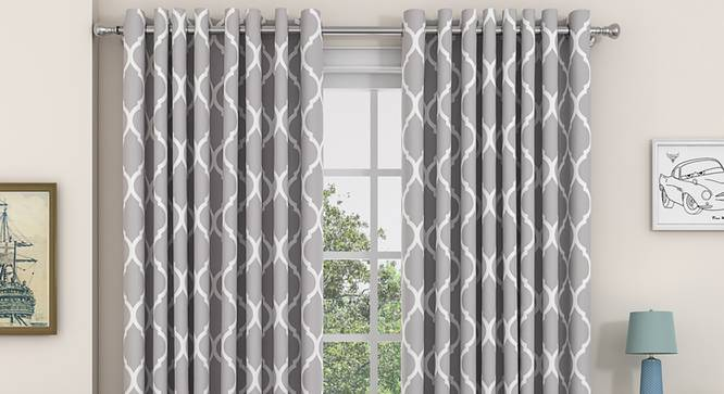 "Taj Door Curtains - Set Of 2 (Grey, 132 x 274 cm  (52""x108"") Curtain Size, Eyelet Pleat) by Urban Ladder - Design 1 Full View - 331053"