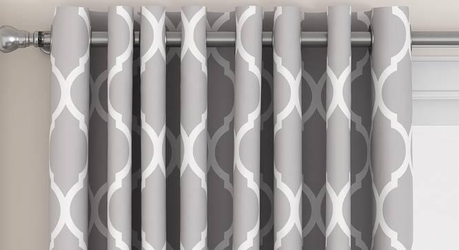 "Taj Door Curtains - Set Of 2 (Grey, 132 x 274 cm  (52""x108"") Curtain Size, Eyelet Pleat) by Urban Ladder - Front View Design 1 - 331054"