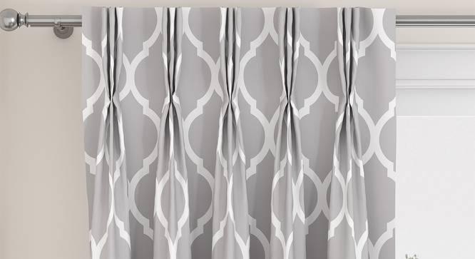 "Taj Door Curtains - Set Of 2 (Grey, 71 x 213 cm (28""x84"")  Curtain Size, American Pleat) by Urban Ladder - Front View Design 1 - 331060"