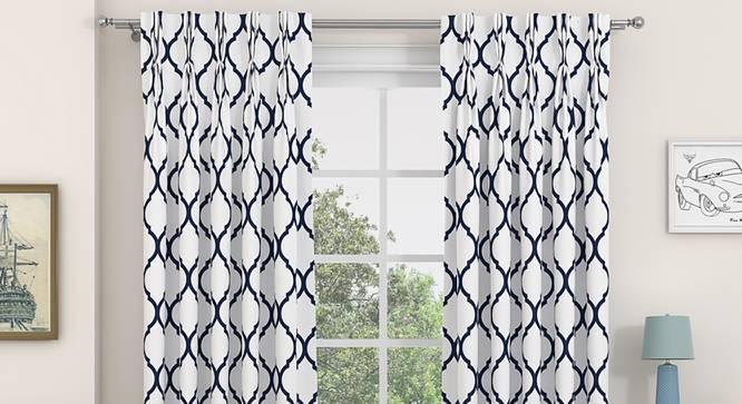"Taj Door Curtains - Set Of 2 (Indigo, 71 x 213 cm (28""x84"")  Curtain Size, American Pleat) by Urban Ladder - Design 1 Full View - 331071"