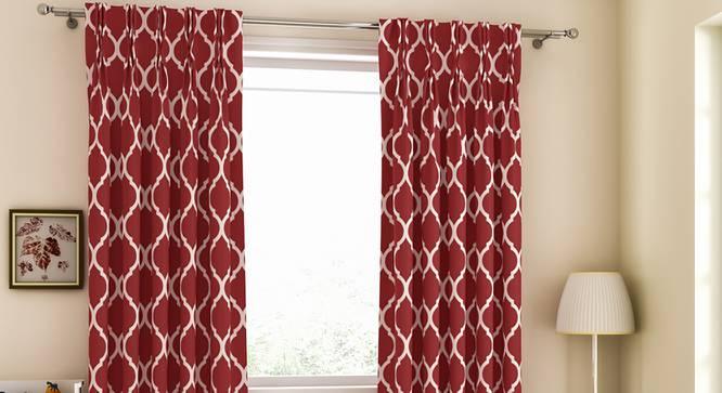 "Taj Door Curtains - Set Of 2 (Brick Red, 71 x 213 cm (28""x84"")  Curtain Size, American Pleat) by Urban Ladder - Design 1 Full View - 331077"