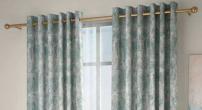 """Simone Door Curtains - Set Of 2 (132 x 274 cm  (52""""x108"""") Curtain Size, Bottle Green, Eyelet Pleat) by Urban Ladder - Design 1 Full View - 331083"""