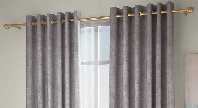 """Simone Door Curtains - Set Of 2 (Grey, 132 x 274 cm  (52""""x108"""") Curtain Size, Eyelet Pleat) by Urban Ladder - Design 1 Full View - 331095"""