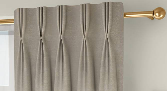 """Simone Door Curtains - Set Of 2 (Cream, 71 x 274 cm (28""""x108"""")  Curtain Size, American Pleat) by Urban Ladder - Front View Design 1 - 331108"""
