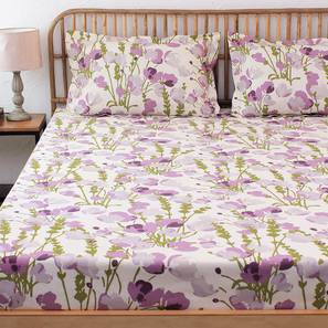 Himalayan Poppies Bedsheet Set (Purple, Double Size) by Urban Ladder - Design 1 Details - 331423