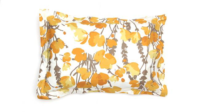 Himalayan Poppies Bedsheet Set (Yellow, Double Size) by Urban Ladder - Design 1 Top View - 331508