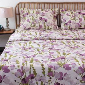 Himalayan Poppies Quilt (Purple, Double Size) by Urban Ladder - Design 1 Details - 331525