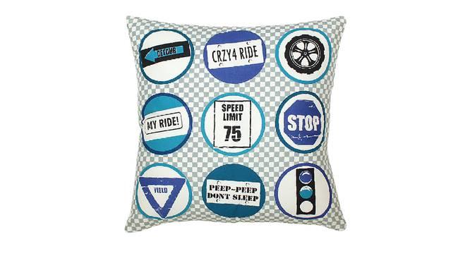"""Safar Cushion Cover (Blue, 41 x 41 cm  (16"""" X 16"""") Cushion Size) by Urban Ladder - Design 1 Details - 331552"""
