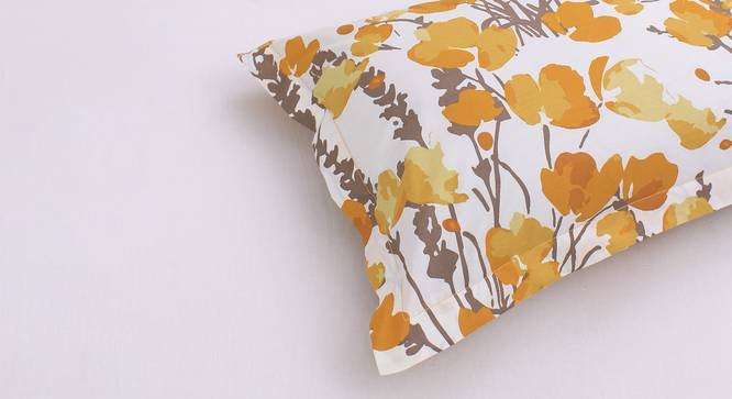 """Himalayan Poppies Cushion Cover (Yellow, 30 x 46 cm  (12"""" X 18"""") Cushion Size) by Urban Ladder - Front View Design 1 - 331610"""