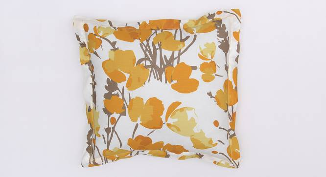 """Himalayan Poppies Cushion Cover (Yellow, 41 x 41 cm  (16"""" X 16"""") Cushion Size) by Urban Ladder - Design 1 Details - 331621"""