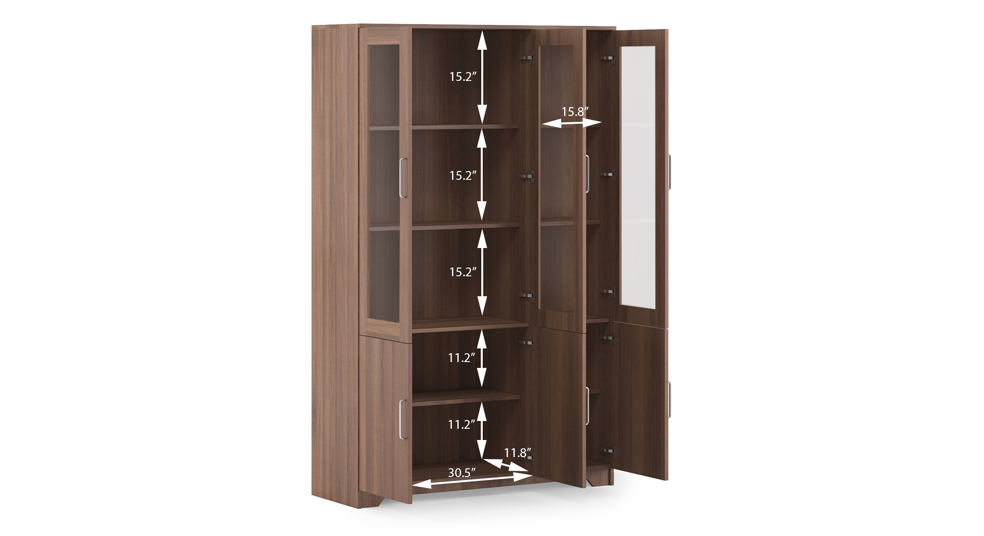 Hubert 6 door kitchen display cabinet dim 2