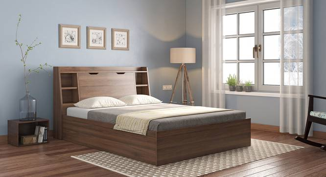 Scott Storage Bed (Queen Bed Size, Box Storage Type, Classic Walnut Finish) by Urban Ladder - Design 1 Full View - 332247