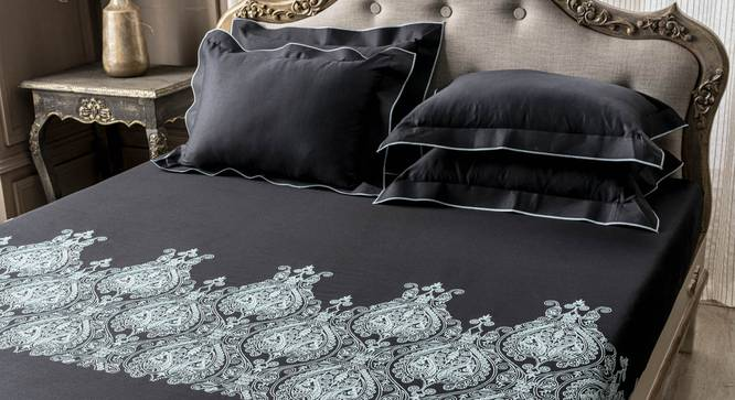 Marlo Bedsheet Set (Black, King Size) by Urban Ladder - Design 1 Full View - 332736
