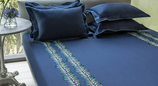 Nori Bedsheet Set (Blue, King Size) by Urban Ladder - Design 1 Full View - 332766
