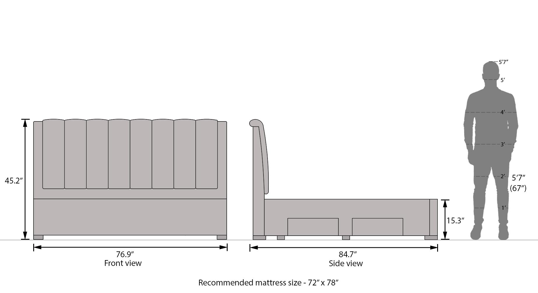 Faroe upholstered storage bed grey king bed size dim 190