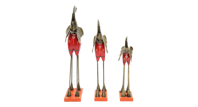 Antonia Figurine Set of 3 (Red) by Urban Ladder - Front View Design 1 - 332882