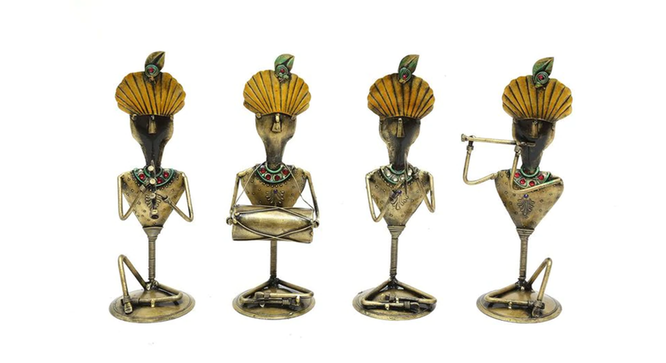Nicholas Figurine Set of 4 (Gold) by Urban Ladder - Front View Design 1 - 333101