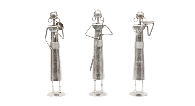 Terika Figurine Set of 3 (Silver) by Urban Ladder - Front View Design 1 - 333210