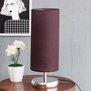 Corbin Table Lamp (Silver) (Shiny Nickel Base Finish, Cylindrical Shade Shape, Purple Shade Color) by Urban Ladder