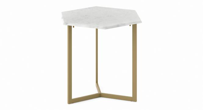 Hexa Marble Side Table (Brass Finish) by Urban Ladder - Front View Design 1 - 333336