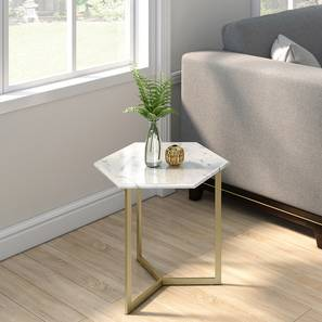 Hexa Marble Side Table (Brass Finish) by Urban Ladder - Design 1 Full View - 333335