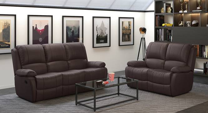Lebowski Recliner (Two Seater, Dark Chocolate Leatherette) by Urban Ladder - Full View Design 1 - 333742