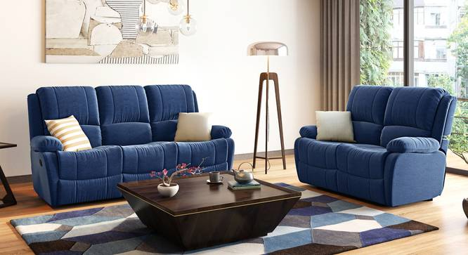 Lebowski Recliner (Two Seater, Cobalt Fabric) by Urban Ladder - Full View Design 1 - 333761