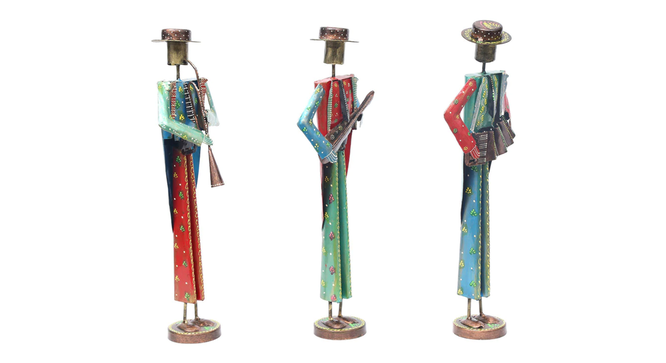 Liu Figurine Set of 3 (Brown) by Urban Ladder - Cross View Design 1 - 333778