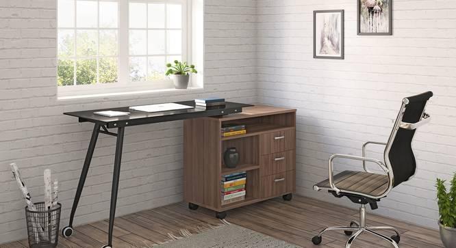 Niccol Glass Top Adjustable Study Table (Classic Walnut Finish) by Urban Ladder - Full View - 333838