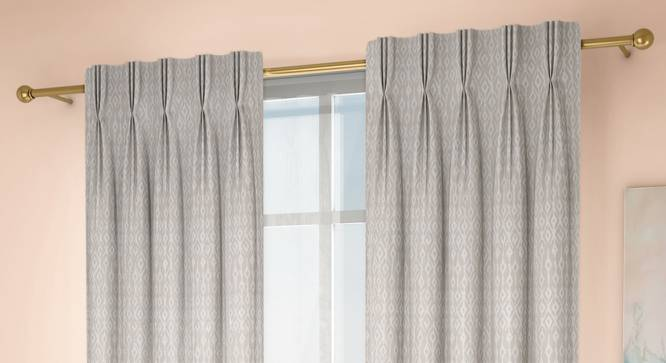 """Arygyle Door Curtains - Set Of 2 (Cream, 71 x 213 cm (28""""x84"""")  Curtain Size, American Pleat) by Urban Ladder - Design 1 Full View - 334007"""