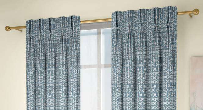 """Arygyle Door Curtains - Set Of 2 (Blue, 71 x 274 cm (28""""x108"""")  Curtain Size, American Pleat) by Urban Ladder - Design 1 Full View - 334013"""