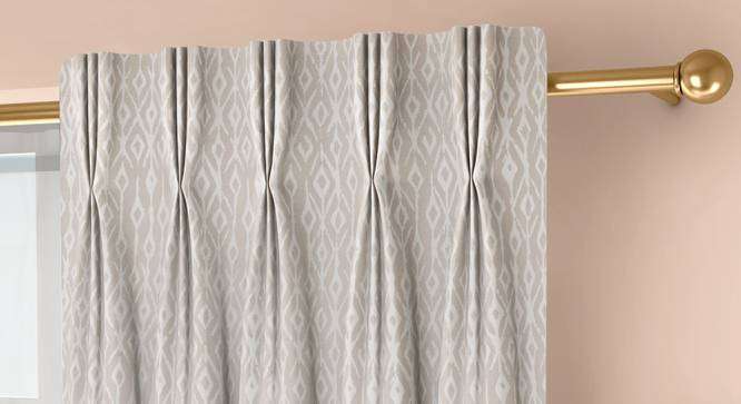 """Arygyle Door Curtains - Set Of 2 (Cream, 71 x 274 cm (28""""x108"""")  Curtain Size, American Pleat) by Urban Ladder - Front View Design 1 - 334021"""