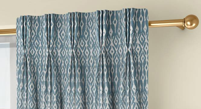 """Arygyle Door Curtains - Set Of 2 (Blue, 71 x 274 cm (28""""x108"""")  Curtain Size, American Pleat) by Urban Ladder - Front View Design 1 - 334022"""