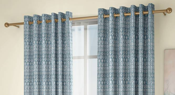 """Arygyle Door Curtains - Set Of 2 (Blue, 132 x 213 cm  (52"""" x 84"""") Curtain Size, Eyelet Pleat) by Urban Ladder - Design 1 Full View - 334064"""