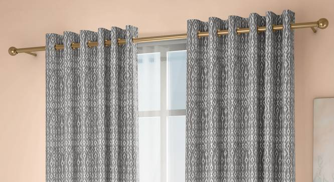 """Arygyle Door Curtains - Set Of 2 (Grey, 132 x 274 cm  (52""""x108"""") Curtain Size, Eyelet Pleat) by Urban Ladder - Design 1 Full View - 334067"""