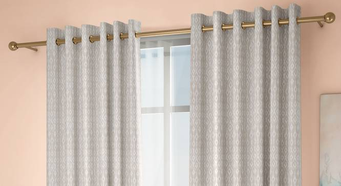 """Arygyle Door Curtains - Set Of 2 (Cream, 132 x 274 cm  (52""""x108"""") Curtain Size, Eyelet Pleat) by Urban Ladder - Design 1 Full View - 334068"""