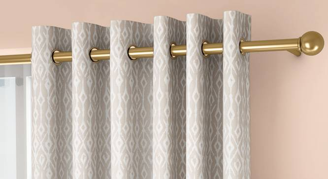 """Arygyle Door Curtains - Set Of 2 (Cream, 132 x 274 cm  (52""""x108"""") Curtain Size, Eyelet Pleat) by Urban Ladder - Front View Design 1 - 334078"""