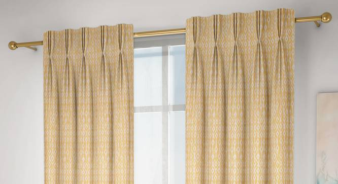 """Arygyle Window Curtains - Set Of 2 (Yellow, 71 x 152 cm (28""""x60"""") Curtain Size, American Pleat) by Urban Ladder - Design 1 Full View - 334120"""