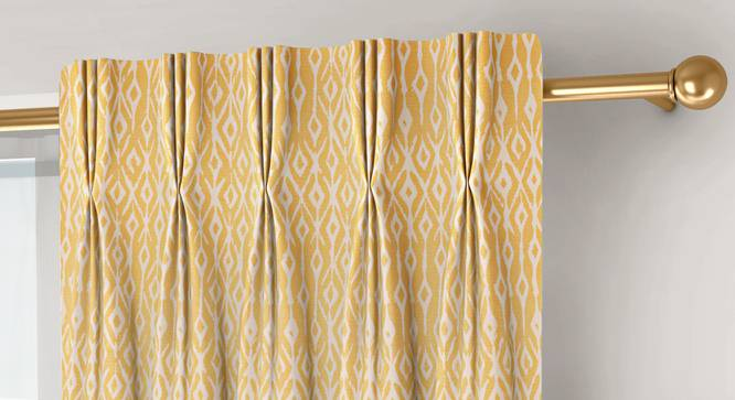"""Arygyle Window Curtains - Set Of 2 (Yellow, 71 x 152 cm (28""""x60"""") Curtain Size, American Pleat) by Urban Ladder - Front View Design 1 - 334130"""
