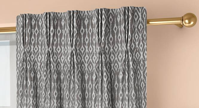"""Arygyle Window Curtains - Set Of 2 (Grey, 71 x 152 cm (28""""x60"""") Curtain Size, American Pleat) by Urban Ladder - Front View Design 1 - 334132"""